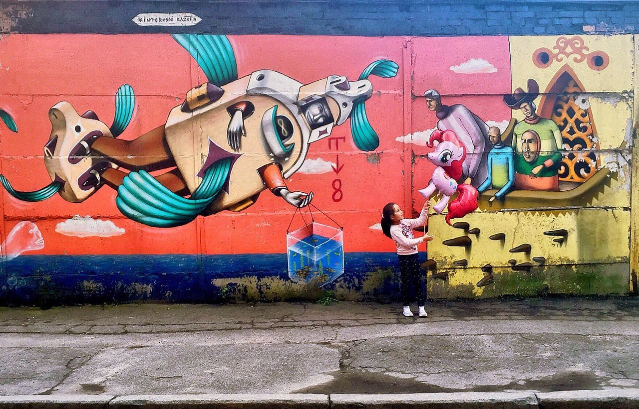 City City Life Wall Wall Art Wallart Graffiti Graffiti Art Girl Kid Balloon My Little Pony On Street Streetphotography Street Photography Streetart Telling Stories Differently Kiev Kievblog Kiev_ig Kiev Ukraine Walking Around