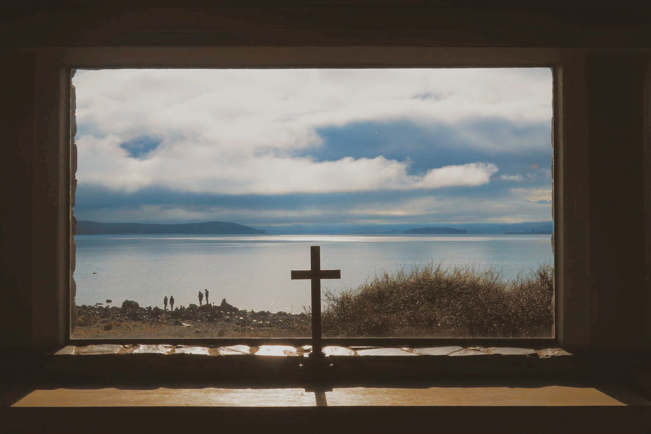 Window Sky Indoors  No People Cloud - Sky Water Nature Sunlight Lake Church Religion Cross Tranquility Scenics