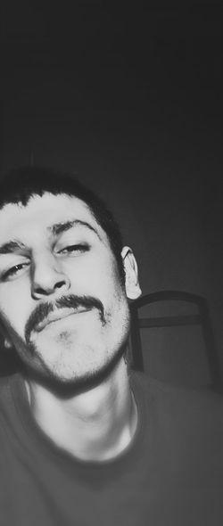 Black And White Selfportrait Mustache
