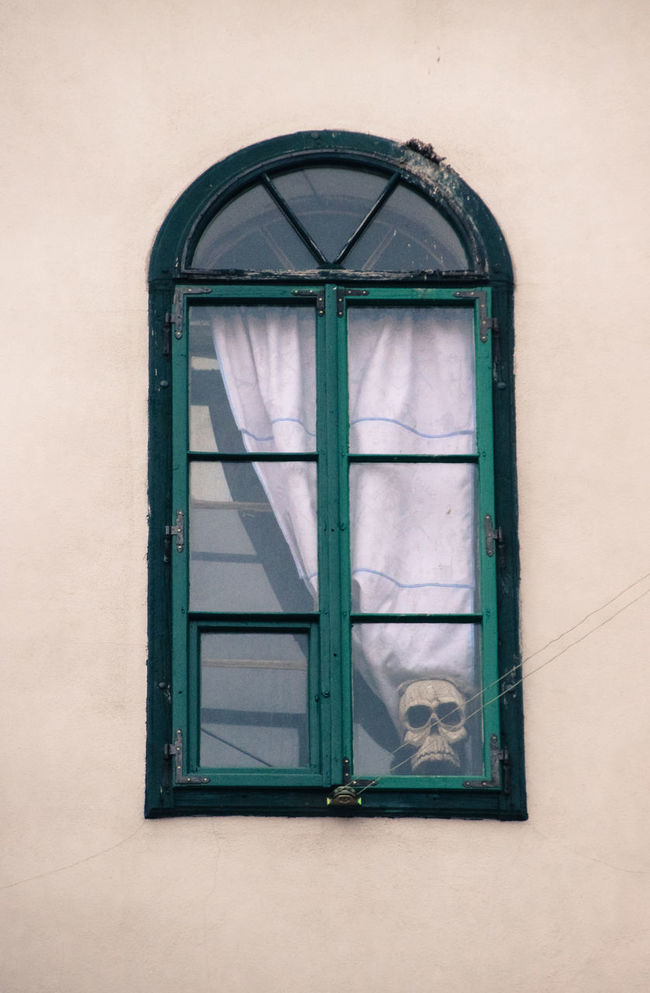 Architecture Close-up Closed Courtain No People Old Old House Skull Window