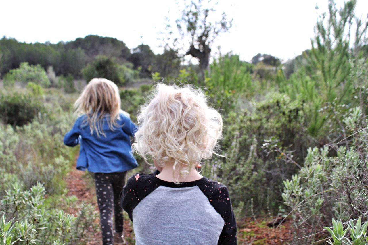 Beautiful stock photos of kinder, two people, child, rear view, mid adult