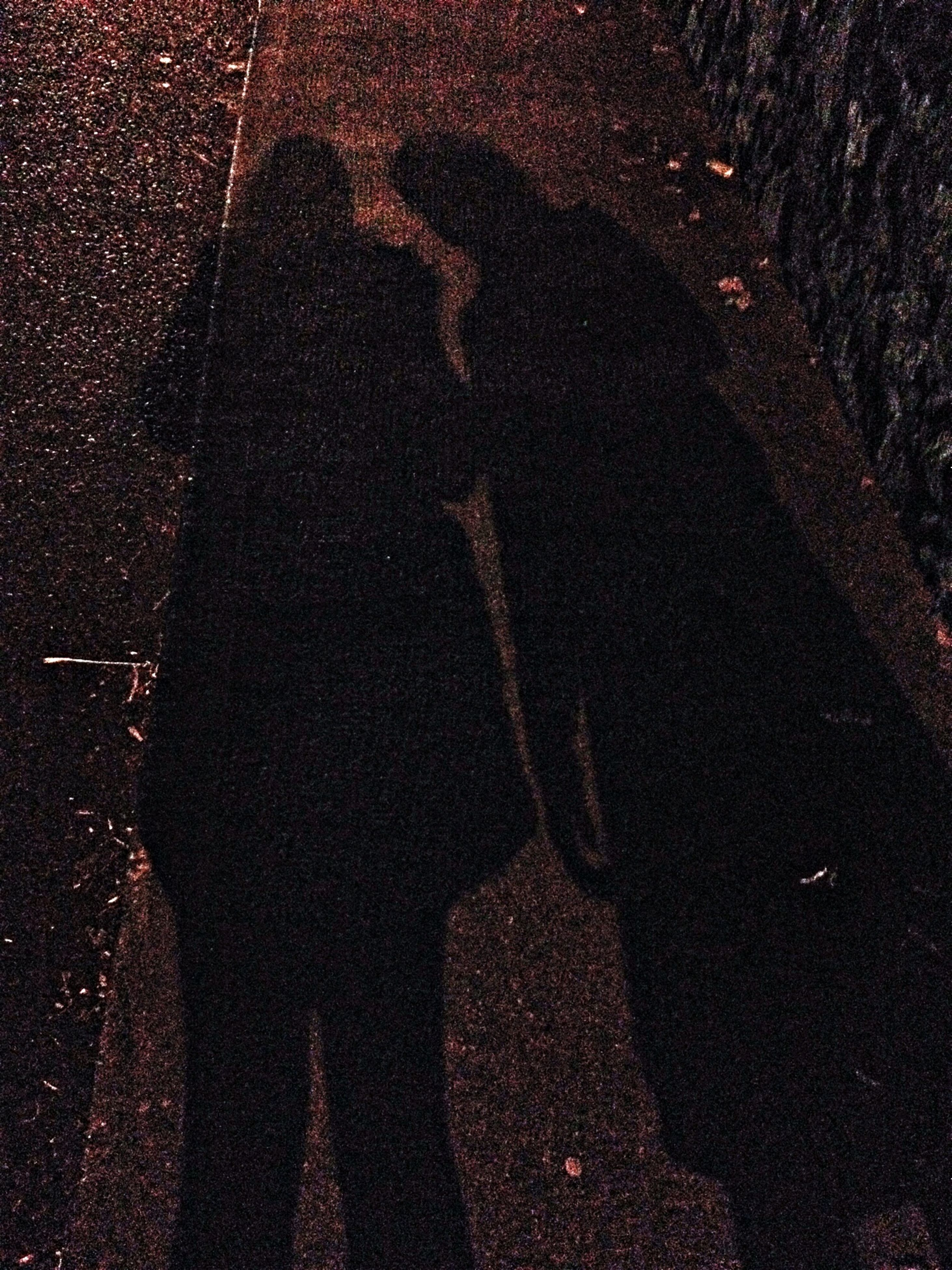 high angle view, night, street, lifestyles, leisure activity, shadow, men, unrecognizable person, road, focus on shadow, standing, dark, outdoors, silhouette, person, asphalt, transportation, sunlight