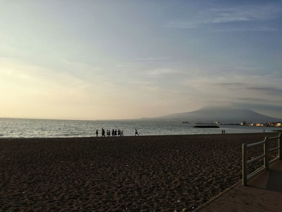 Sea Beach Horizon Over Water Sky Water Scenics Nature Real People Outdoors Tranquility Sand Beauty In Nature Vacations Tranquil Scene Large Group Of People Day People Vesuvio Castellammare Di Stabia Italy Italia