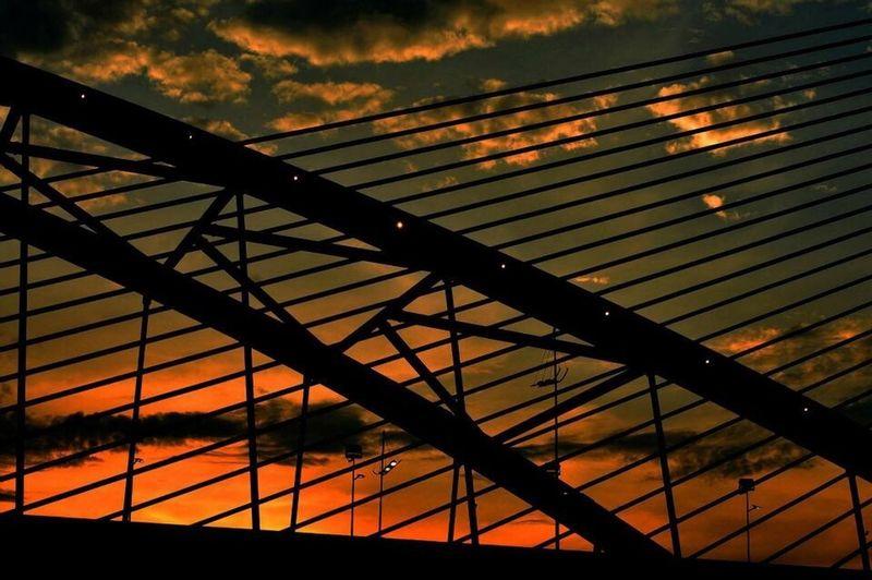 Sunset Orange Color Architecture Saujanabridge Putrajaya,malaysia
