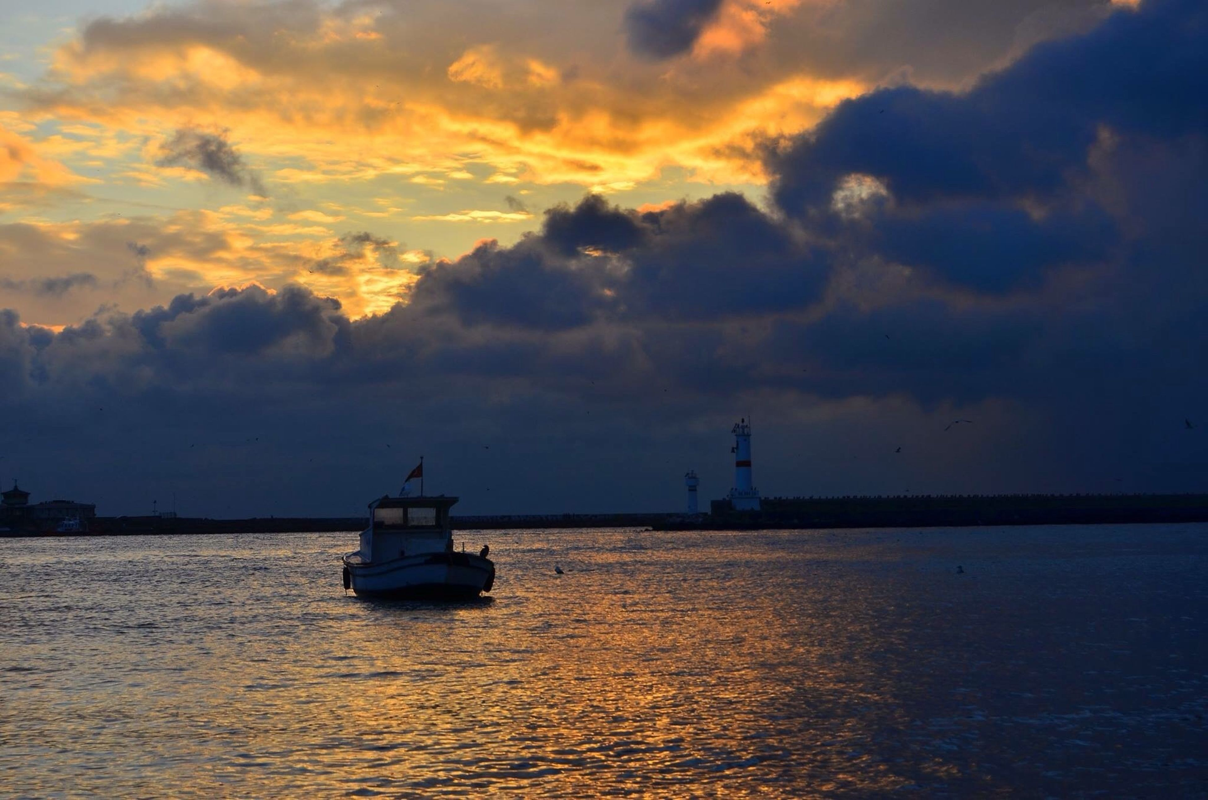 cloud - sky, nautical vessel, sea, sunset, sky, travel destinations, water, no people, business finance and industry, outdoors, sailing, nature