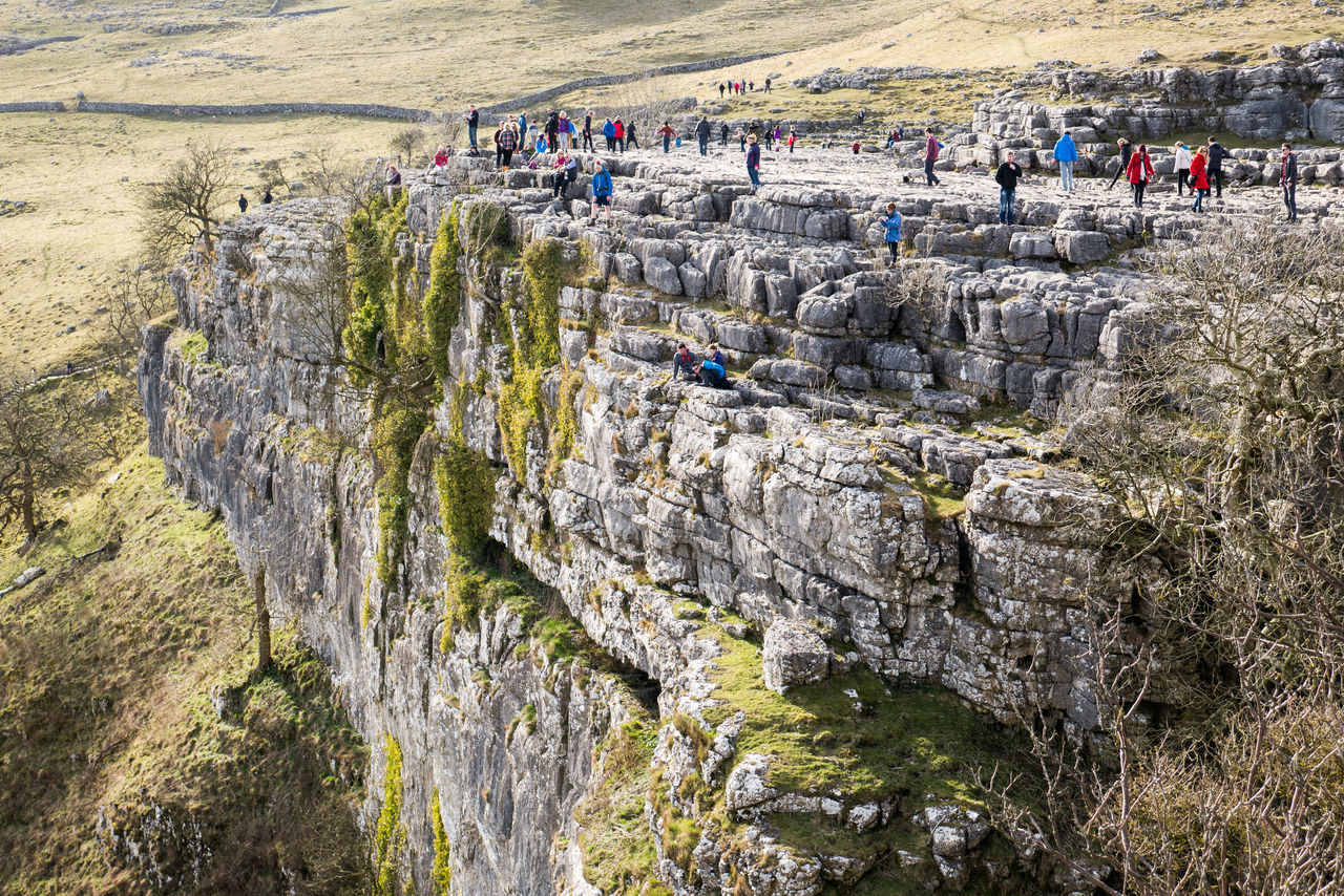Cliff Countryside Day Landscape Large Group Of People Malham Malham Cove Nature Outdoor Life Outdoors Real People Rock Face Tourists Yorkshire Yorkshire Dales