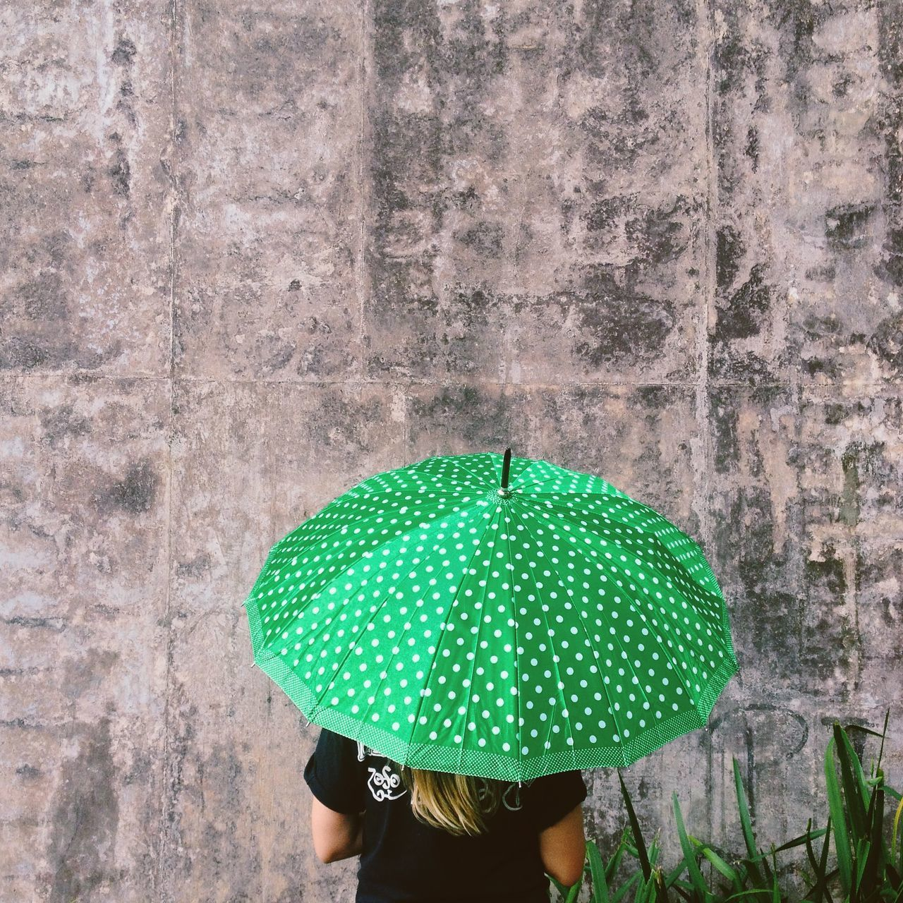 Green Umbrella Concrete Wall Adapted To The City Adult Adults Only Close-up Concrete Day Green Color Nature One Person Outdoors People Real People Umbrella