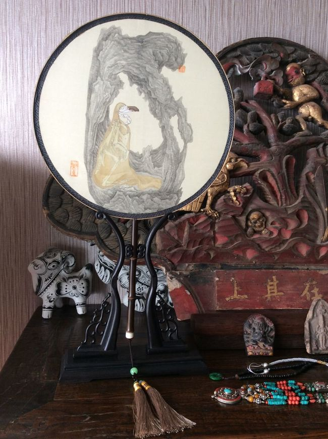 In My Studio I Draw A Fan Taking Photos Enjoying The Sun Beautiful Day Chinese Painting