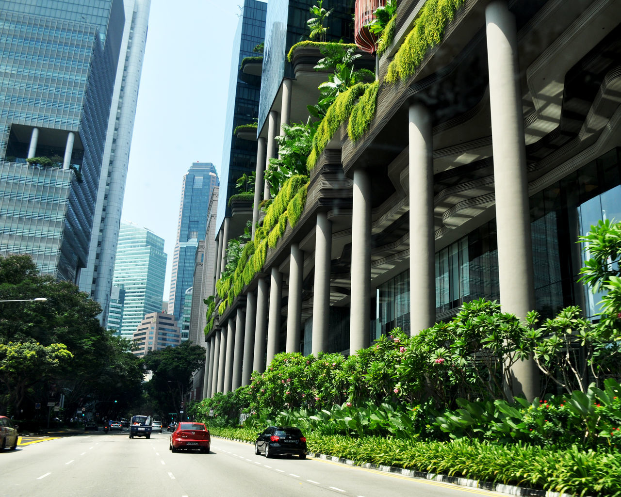 Hanging gardens on building in downtown Singapore. Adapted to the City Architecture building exterior Cars City Cityscape column day Downtown greenery Hanging gardens office buildings outdoors Singapore street Traffic