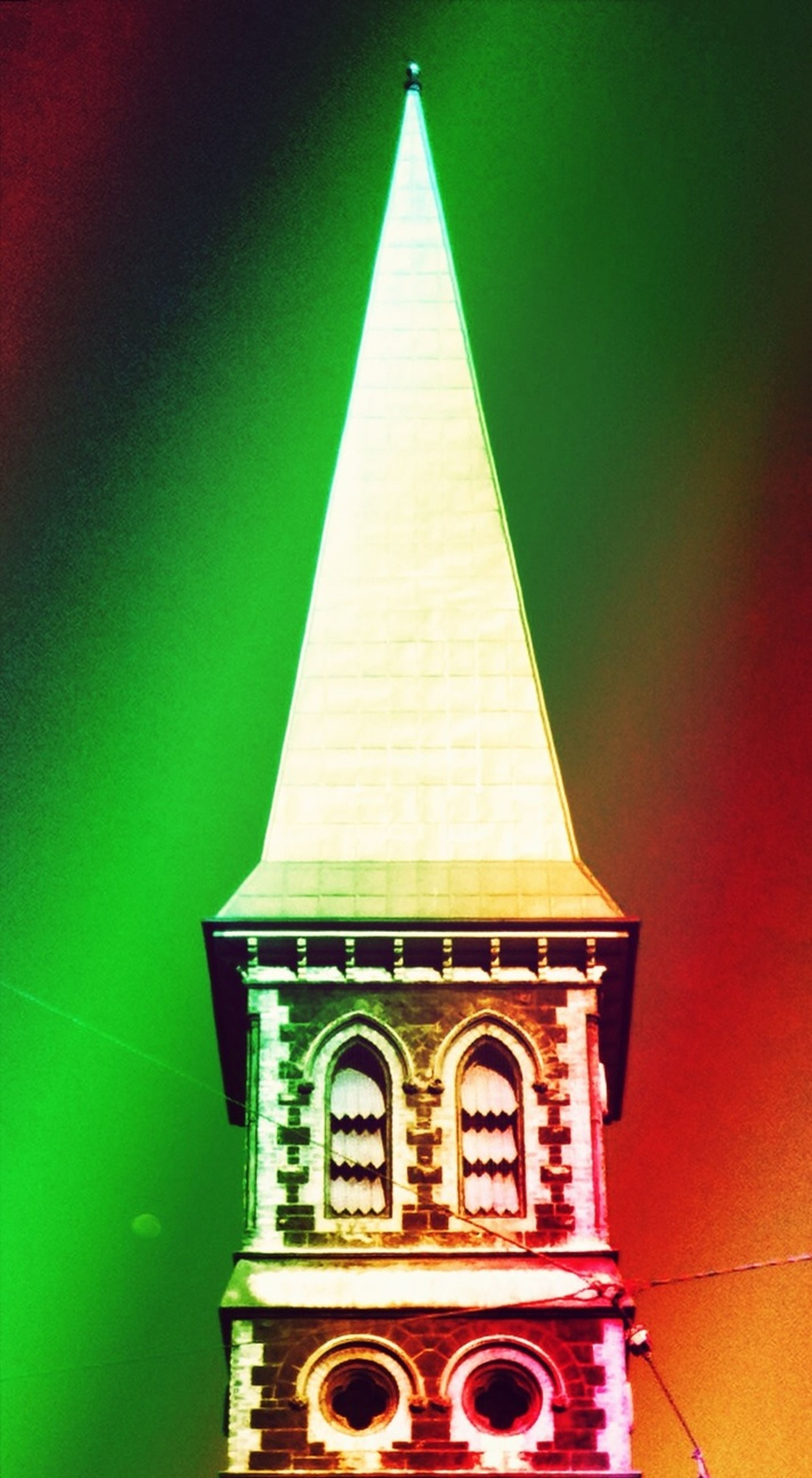 architecture, built structure, low angle view, building exterior, religion, illuminated, place of worship, no people, church, spirituality, outdoors, diminishing perspective, red, day, arch, wall - building feature, auto post production filter, green color