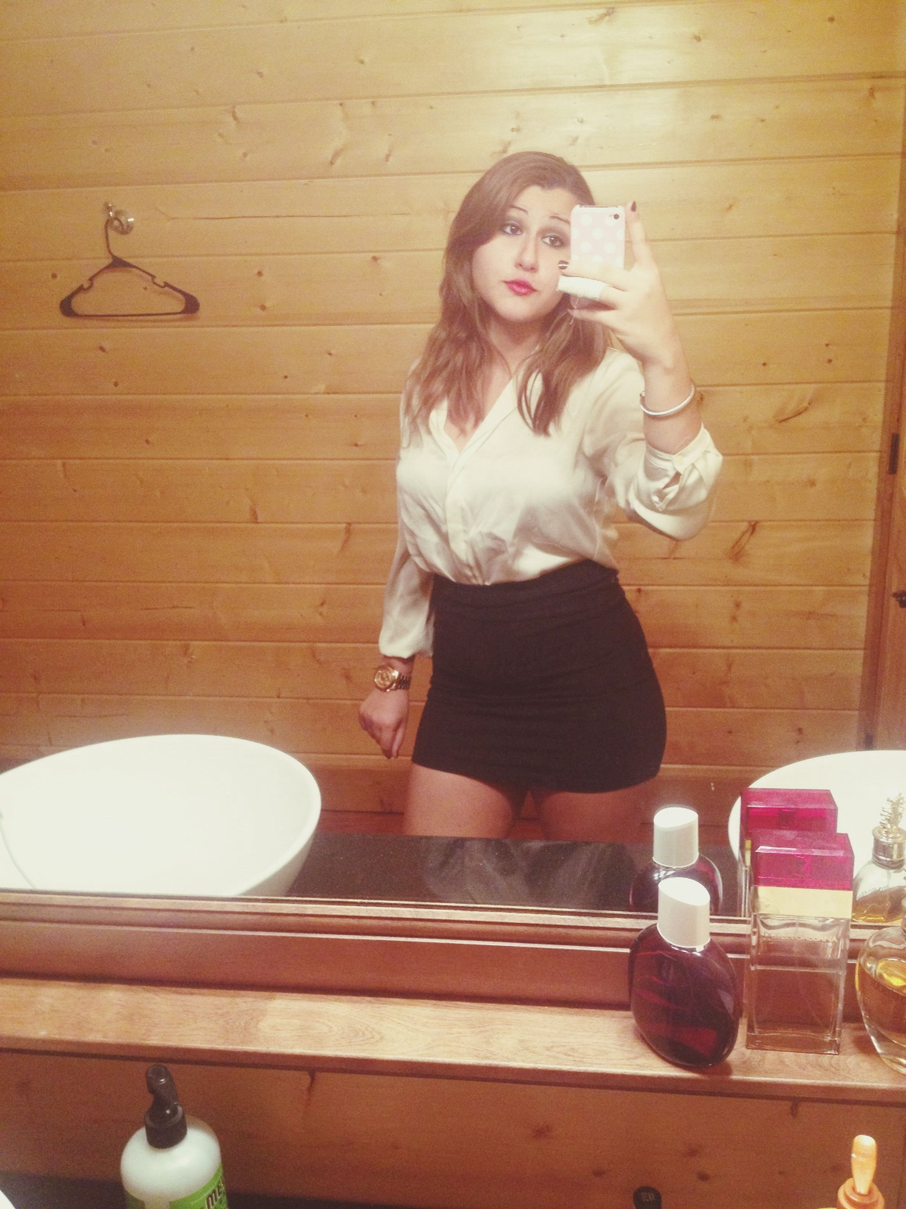 indoors, full length, home interior, casual clothing, standing, person, sitting, wood - material, lifestyles, leisure activity, wall - building feature, childhood, three quarter length, mirror, front view, door, side view, day