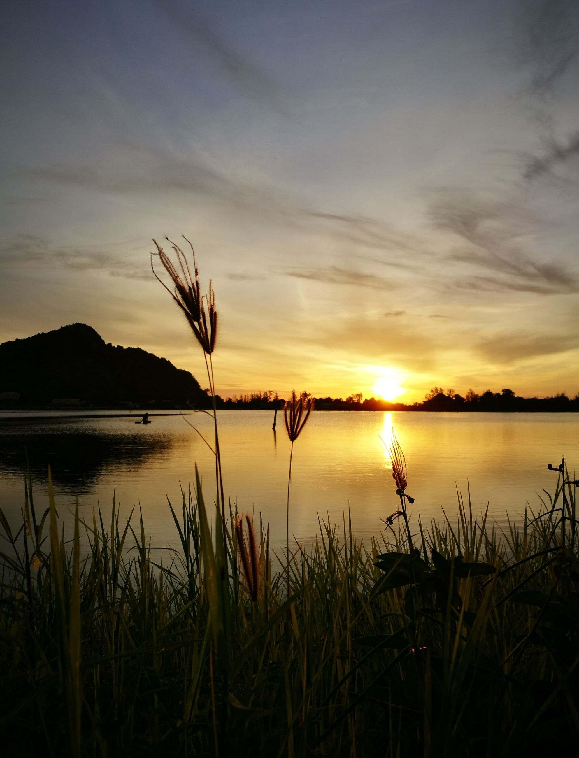 sunset, water, tranquil scene, lake, tranquility, sky, scenics, beauty in nature, reflection, sun, plant, nature, grass, idyllic, lakeshore, cloud - sky, cloud, orange color, growth, outdoors, calm, no people, non urban scene, non-urban scene, mountain, majestic, landscape, remote