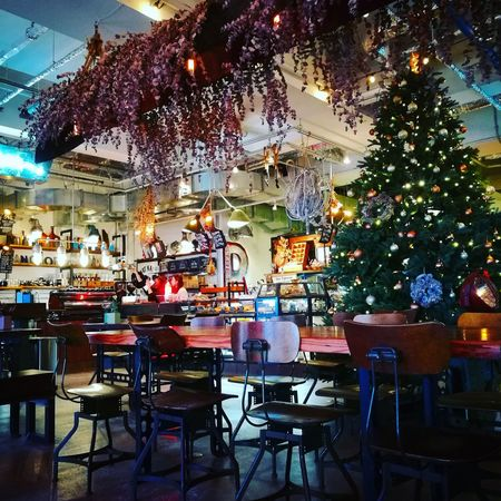 Chair Indoors  Table Tree No People Illuminated Christmas Christmas Tree Cafe Okinawa Day EyeEm Selects Night Lights Light Neon