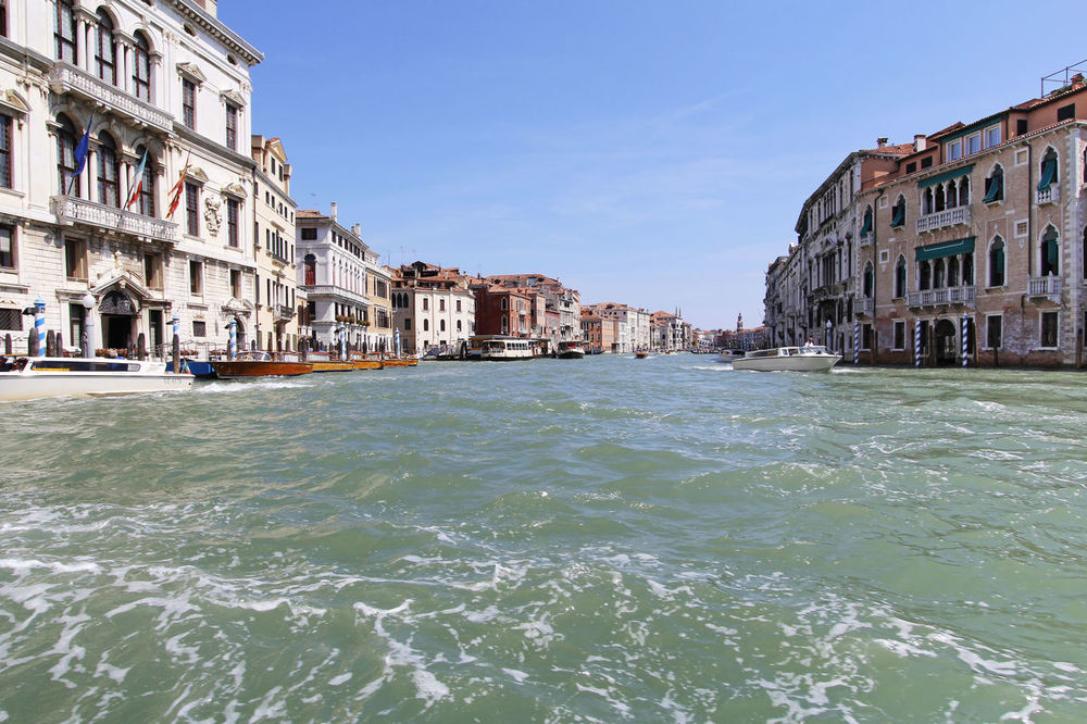 Blue Sky Canal City Clear Sky Grand Canal Italy Romantic City Tourism Transportation Venice Water Waterfront Wave Waves