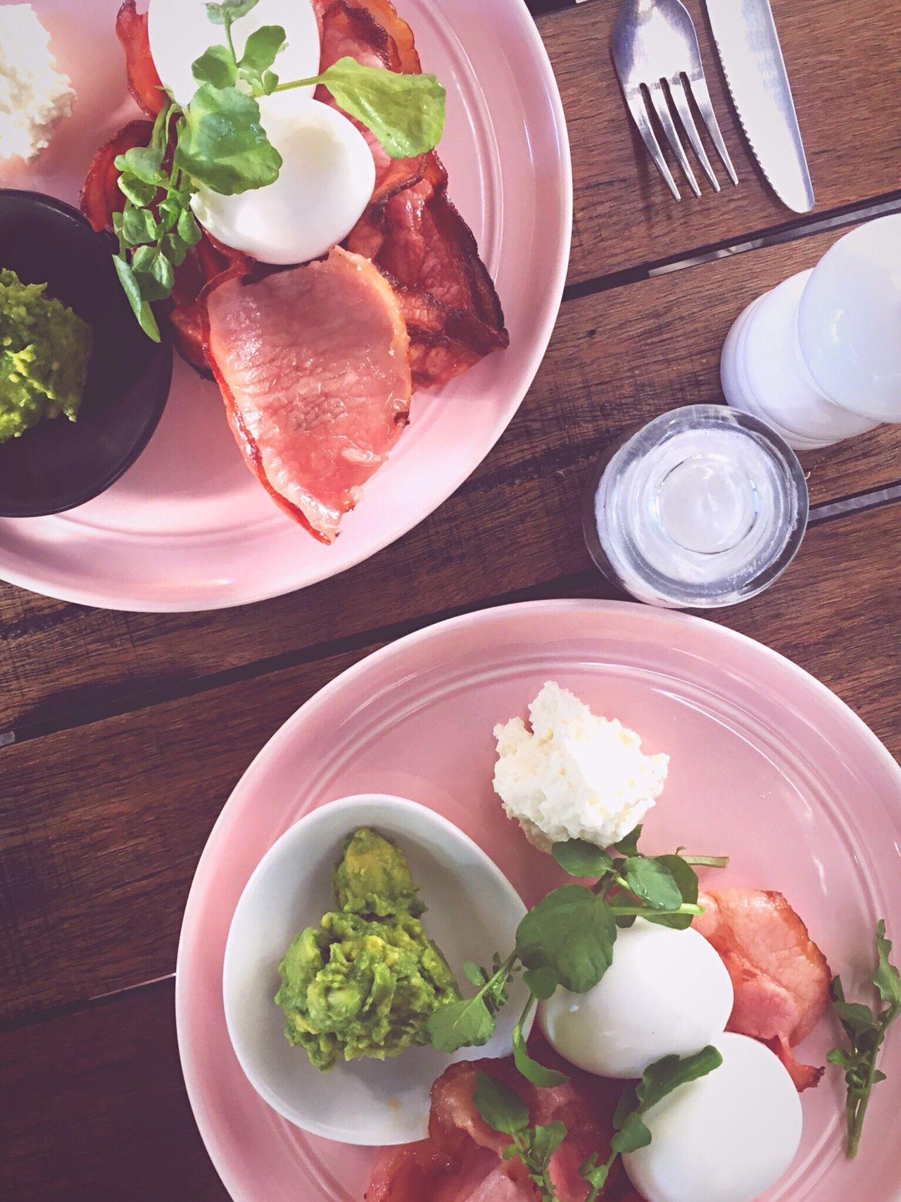 Millennial Pink healthy breakfast Plate High Angle View Freshness Table Ready-to-eat Egg Bacon Explosion Breakfast Healthy Eating Pink Cafe Culture