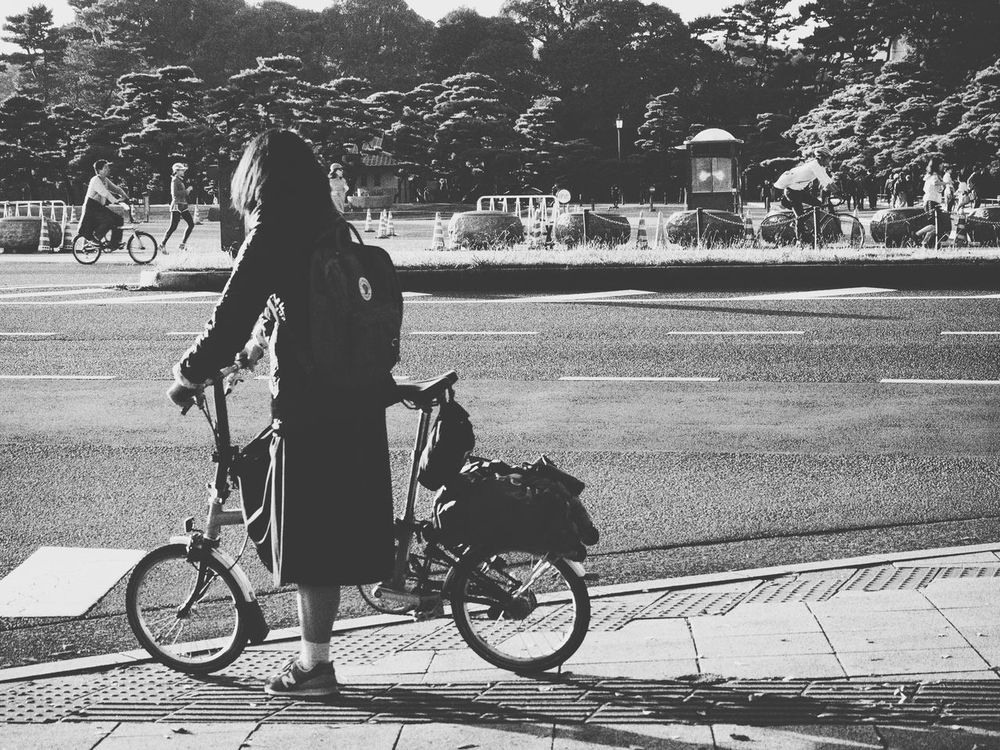 Bicycle/君の往く道は Bicycle Girl Kanken Afternoon Sun Streetphotography Olympus Om-d E-m10 Enjoying Life Tokyo Japan B&w Street Photography