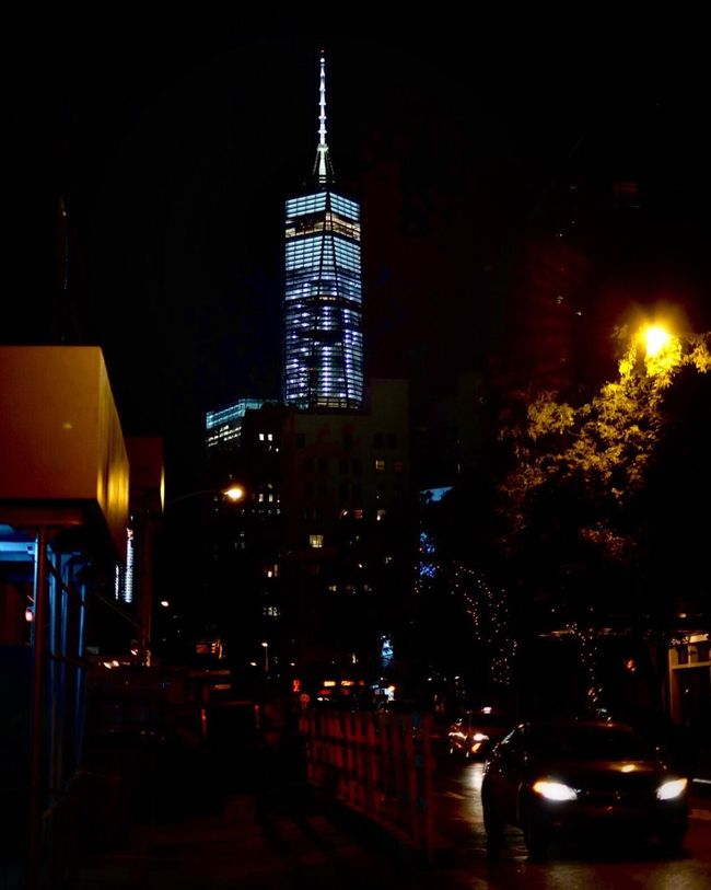 New York City Manhattan Tall Spire  City Street Skyscraper Tall - High Tower City Building Exterior Built Structure Architecture Night Illuminated