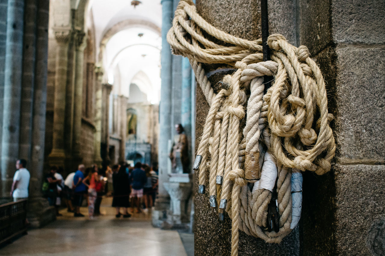 Ropes in Santiago de Compestella (the famous ropes) Architecture Built Structure Church Day Outdoors Real People Religion Ropes Unrecognizable People Unrecognizable Person