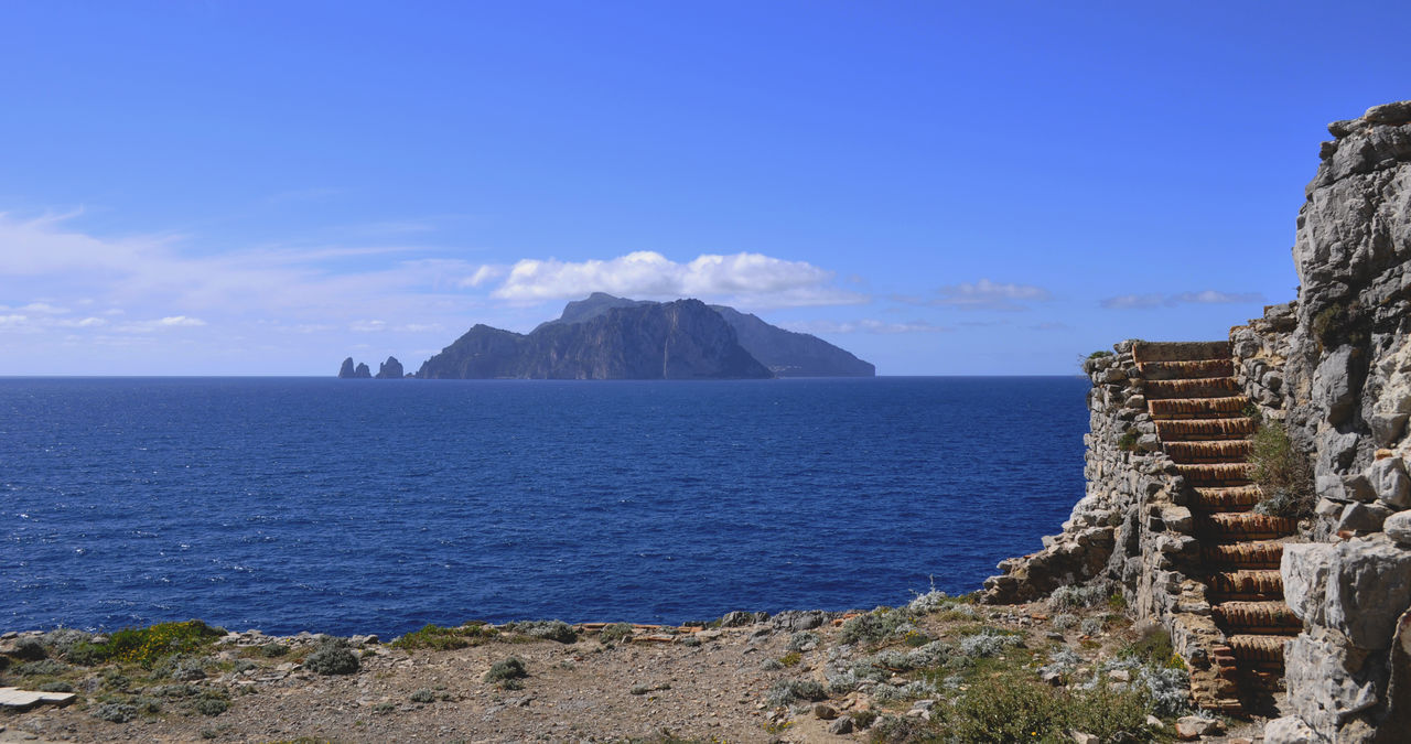 Capri by Punta Campanella Blue Close-up Island Mountain Nature Outdoors Scenics Sea Sky Stairs Tranquility Water