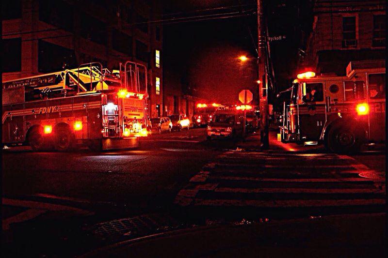 The First Responders/Bushwick Bk Fire Engines Fdny Nightime Street Photography Street Lights Crosswalks Urgency Emergency