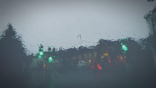 Rain Grey Day Raining View Through My Windshield Headlights Brake Lights Traffic Lights Crossing Driving