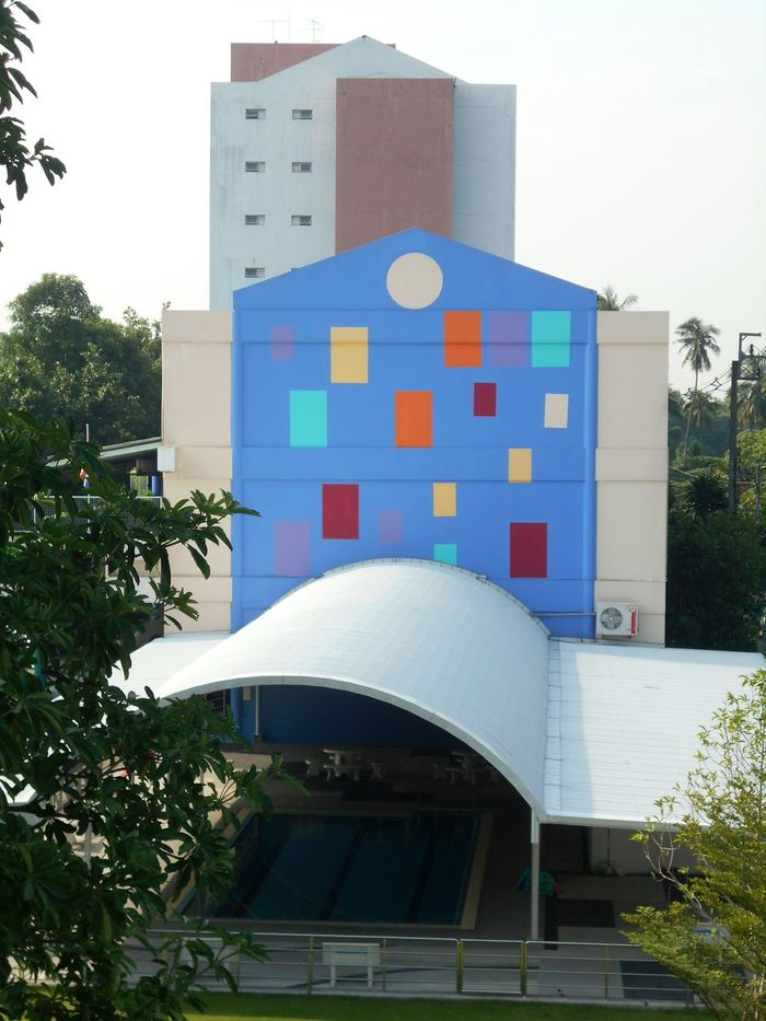 Scool : Tree Architecture Building Exterior Architectural Feature Concrete Arch Multi Colored Footpath Sky ,Taling Chan Thailand. .