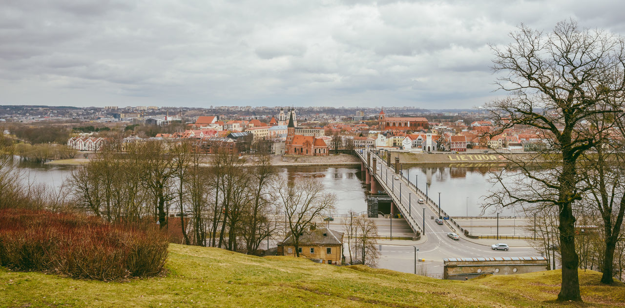 Kaunas Panorama Architecture Bridge - Man Made Structure Building Exterior Built Structure City Cityscape Cloud - Sky Connection Day Lietuva Nemunas No People Old Town Outdoors Panoramic River Sky Transportation Travel Travel Destinations Tree Urban Skyline Water