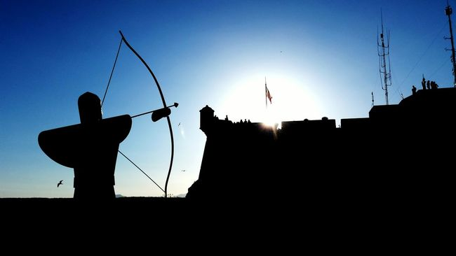 SPAIN Alicante Castillo De Santa Bárbara Blue Sky Light And Shadow Backlight Backlighting Backlit Sunset To Become Night Castle Arc Goalkeeper Medieval Flag Silhouette Big Sun Light Sun Sun Tower Lookout Lookout Tower Lookoutside Lookout Castle View View Sea