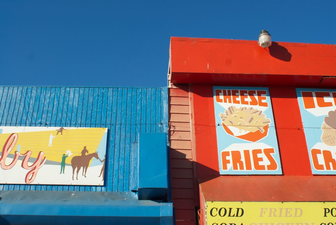 Blue Cheese Fries Coneyisland Fairground Fastfood Nostalgia Red Sign Text Wall