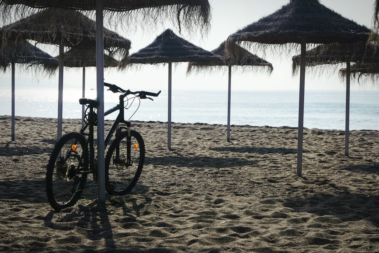 Beach of Malagueta, Malaga Beach Sea Water Bicycle Sand Protection Day Outdoors Sky Tranquility Transportation Land Vehicle No People Nature Horizon Over Water Beauty In Nature Fresh 3 Eye4photography  EyeEm Best Shots Beach Photography Bicycles The Great Outdoors - 2017 EyeEm Awards