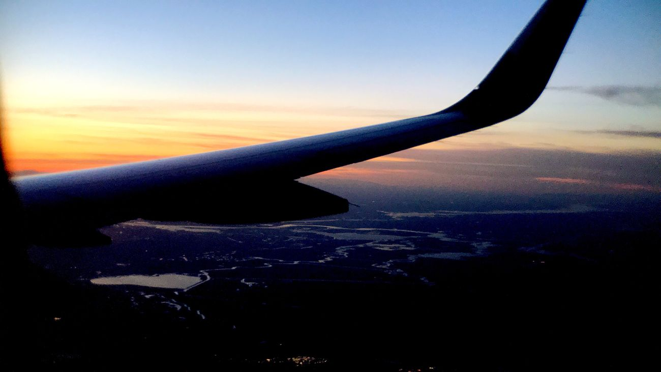 Retrica Airplane Sky Sunset Aircraft Wing Journey Airplane Wing Aerial View Cloud - Sky Flying IPhoneography Koduckgirl