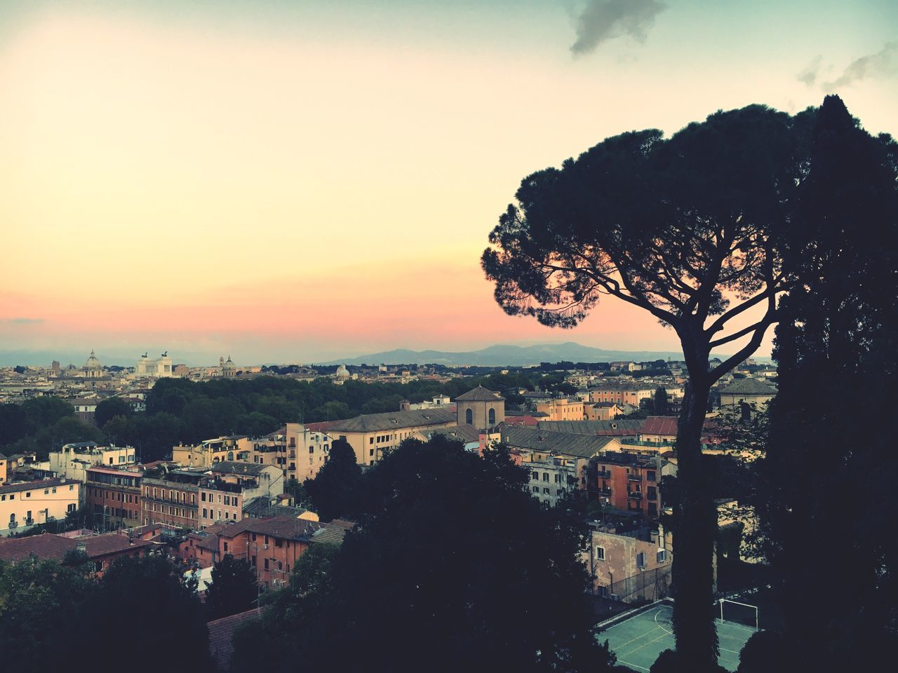 Cityscape Sky Rome Italy Tree Building Exterior Architecture Built Structure City Sunset High Angle View Outdoors No People Nature Beauty In Nature Day