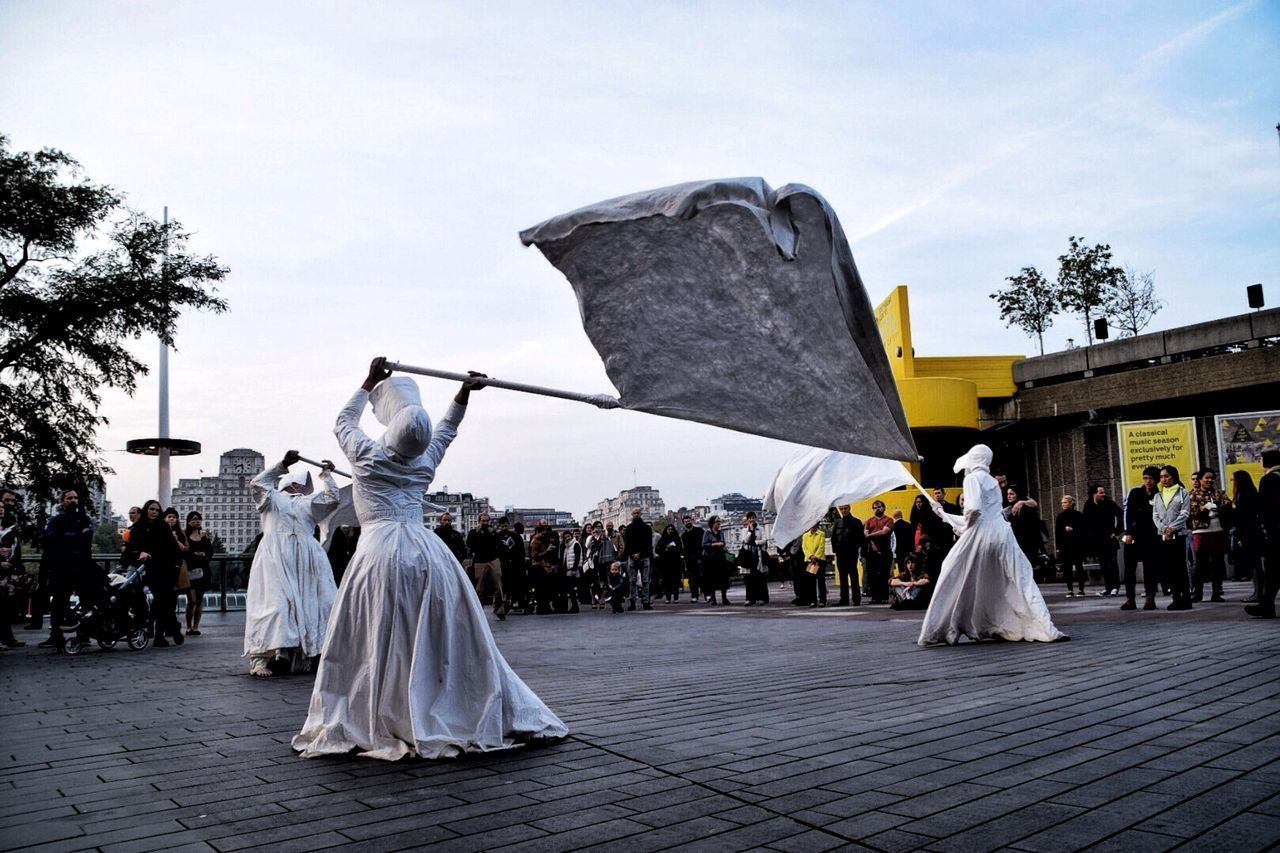 An art performance at the south bank centre and queen Elizabeth hall to mark the last day before it is renovated. Performance South Bank Centre Queen Elizabeth Hall South Bank Ghosts Art Ghost White Capture The Moment