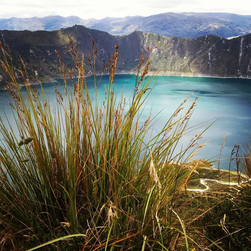 Nature Water Mountain Day No People Outdoors Landscape Sky Scenics Beauty In Nature Lagoon Volcanic Crater Quilotoa Laguna Quilotoa Ecuador Travel Destinations Growth