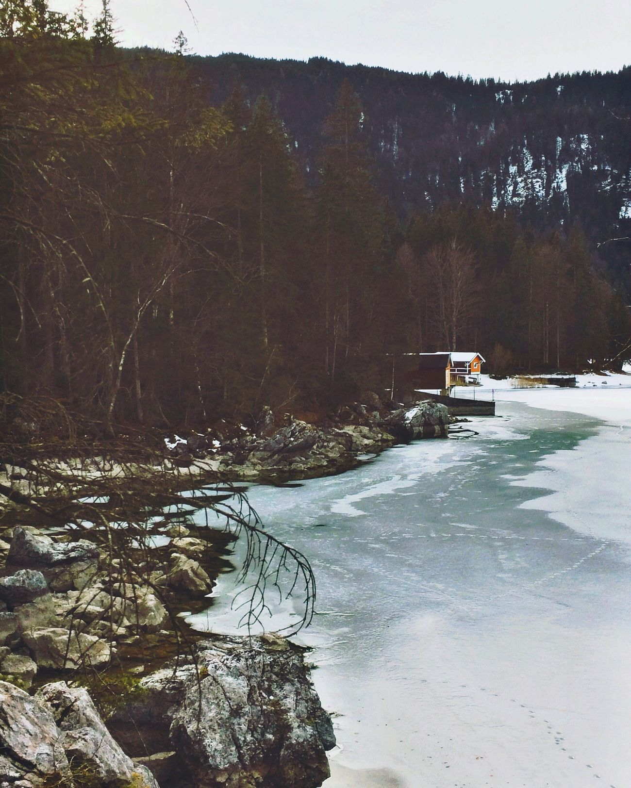 Icy lake. IPhoneography Winter Bavarian Alps EyeEm Best Shots - Nature Ice Naturelovers Lake EyeEm Nature Lover Eibsee Bavaria Winter Wonderland Wintertime The Week Of Eyeem Cabin In The Woods