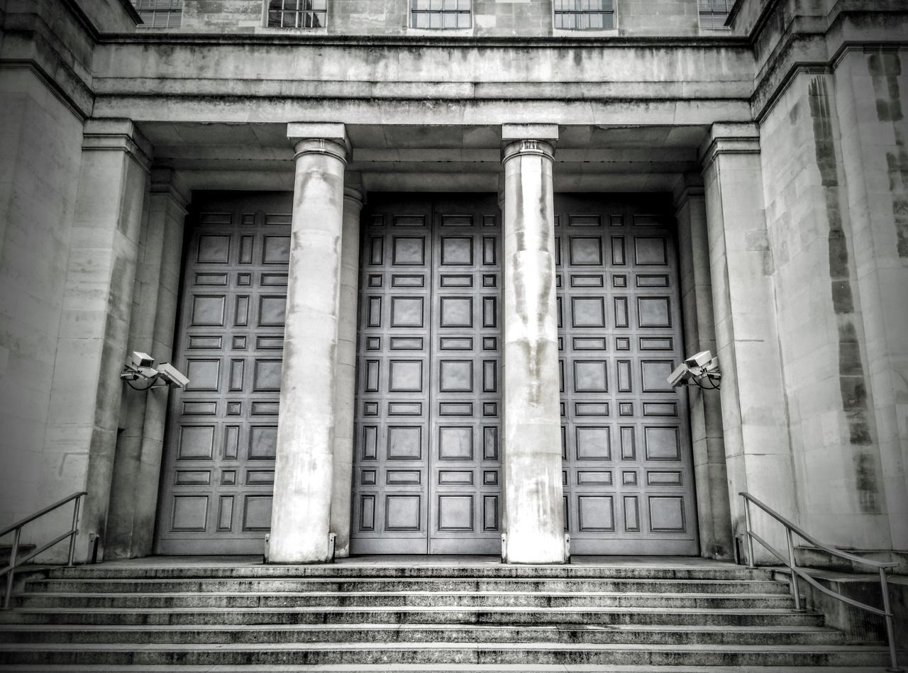 Architectural Column Backgrounds Built Structure Door Doorporn Government Building Historic History Metal No Entry No People Old Paranoia Pattern Protected Repetition Secure Security Securitycam Symmetry Vertical Symmetry