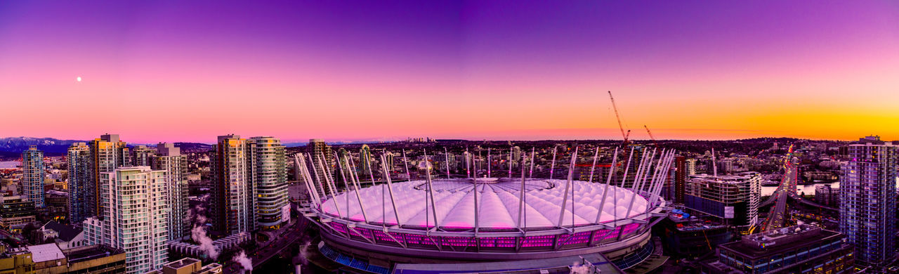 Pink stadium pink sky panoramic Sunset City Cityscape Urban Skyline Travel Destinations Outdoors Sky Mountain Landscape Dramatic Sky No People Business Finance And Industry Tranquility Beauty In Nature Scenics Skyscraper Illuminated Tree Nature Night Bcplace BCPlaceArena Canada Vancouverisawesome Multi Colored