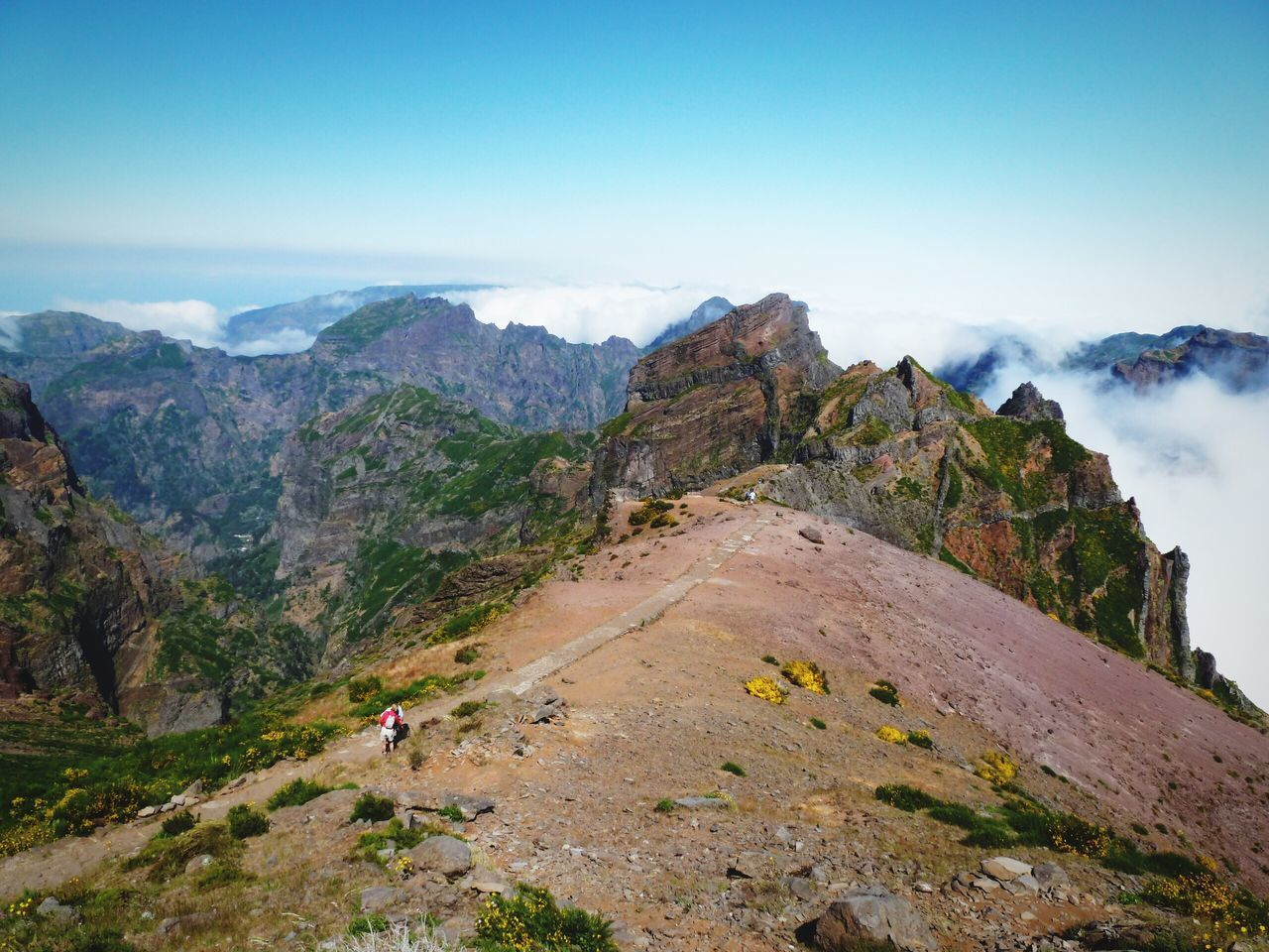 Mountains Mountain View Clouds Clouds And Sky Top Perspective Tranquility Landscape Nature Nature_collection Majestic Madeira Madeira Island Grassfield Plants Color Of Life Portugal Sky Stone Rock