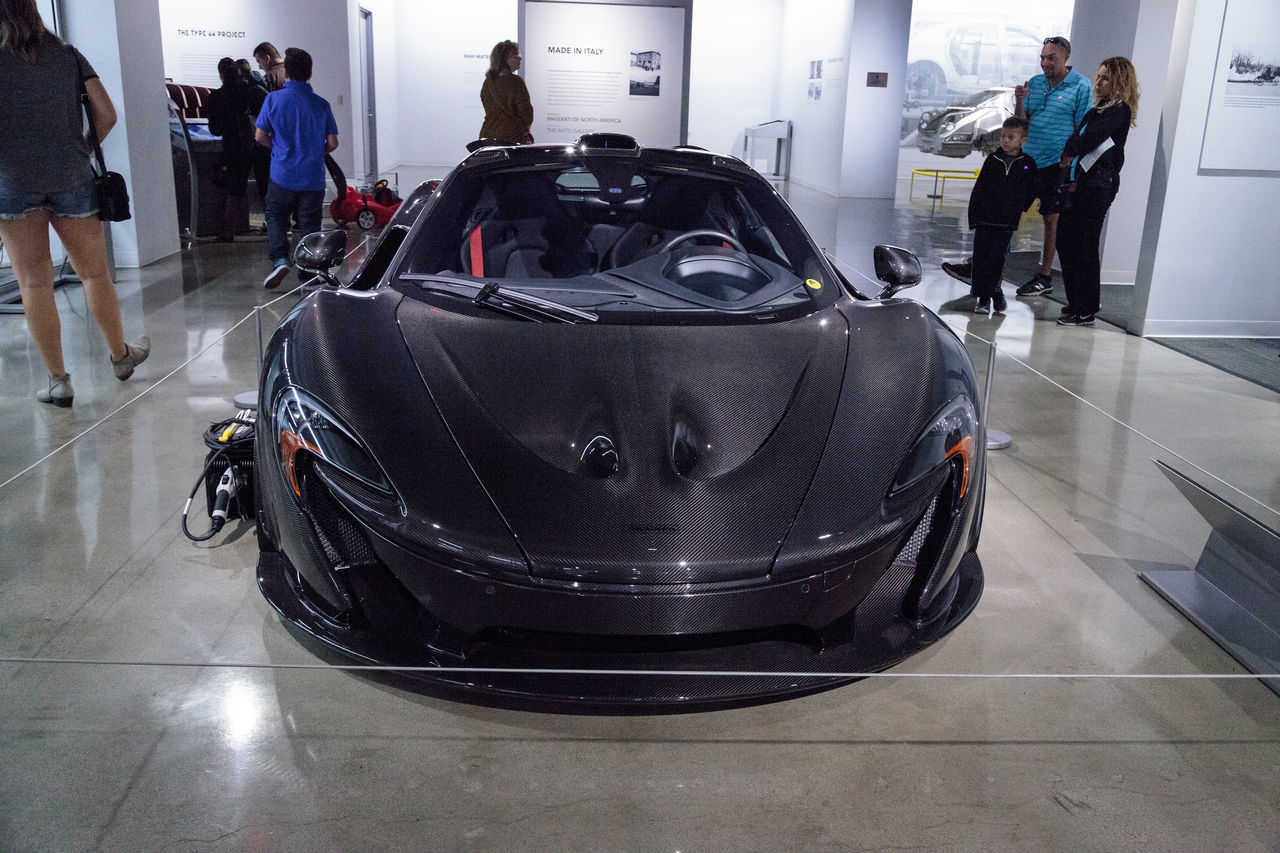 Los Angeles, CA, USA - March 4, 2017: Dark silver 2015 McLaren P1 at the Petersen Automotive Museum in Los Angeles, California, United States. Editorial only. 2015  Classic Car Fast Car Grey Car Luxury Luxurylifestyle  McLaren Mclaren P1 Petersen Automotive Museum Speed Transportation