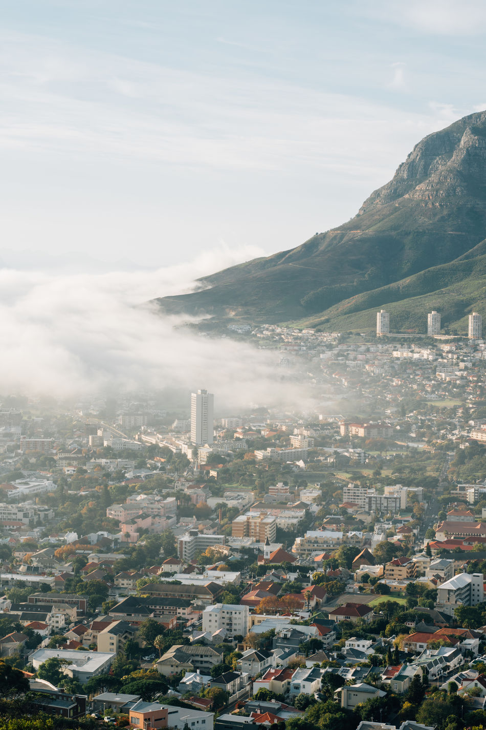 Cape Town Cape Town, South Africa City Mist Misty Misty Morning Mountains And City Urban