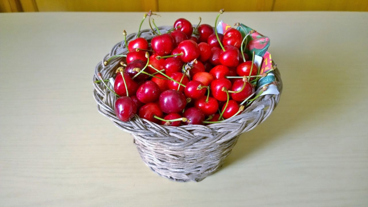 red, food and drink, fruit, cherry, healthy eating, food, freshness, large group of objects, high angle view, indoors, no people, close-up, day