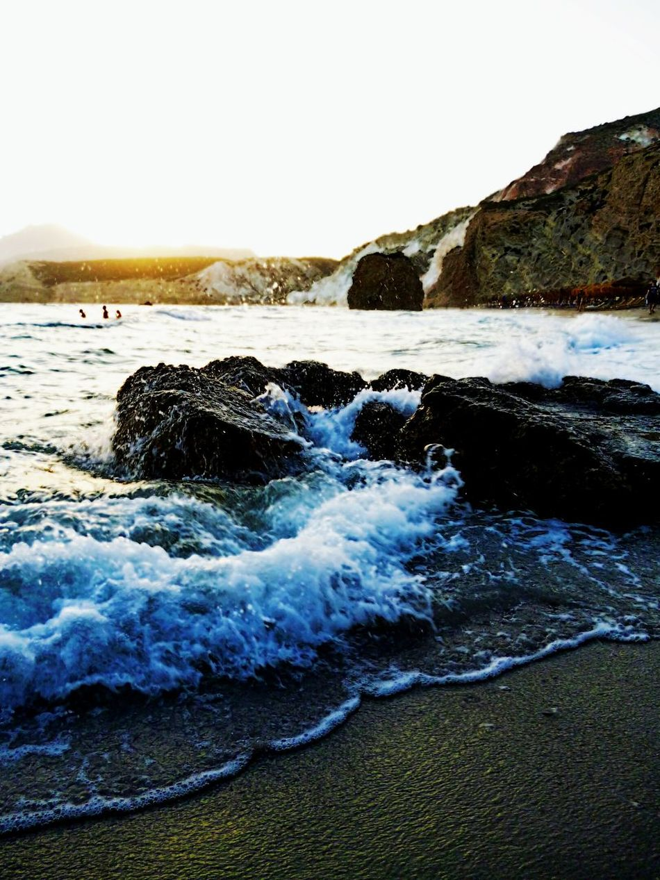Water Nature Milos Island Waves Crashing On Rocks Waves Rolling In Sea People Bathing Cliffside Greece Islands Summer Evening 3XSPUnity EyeEmNewHere