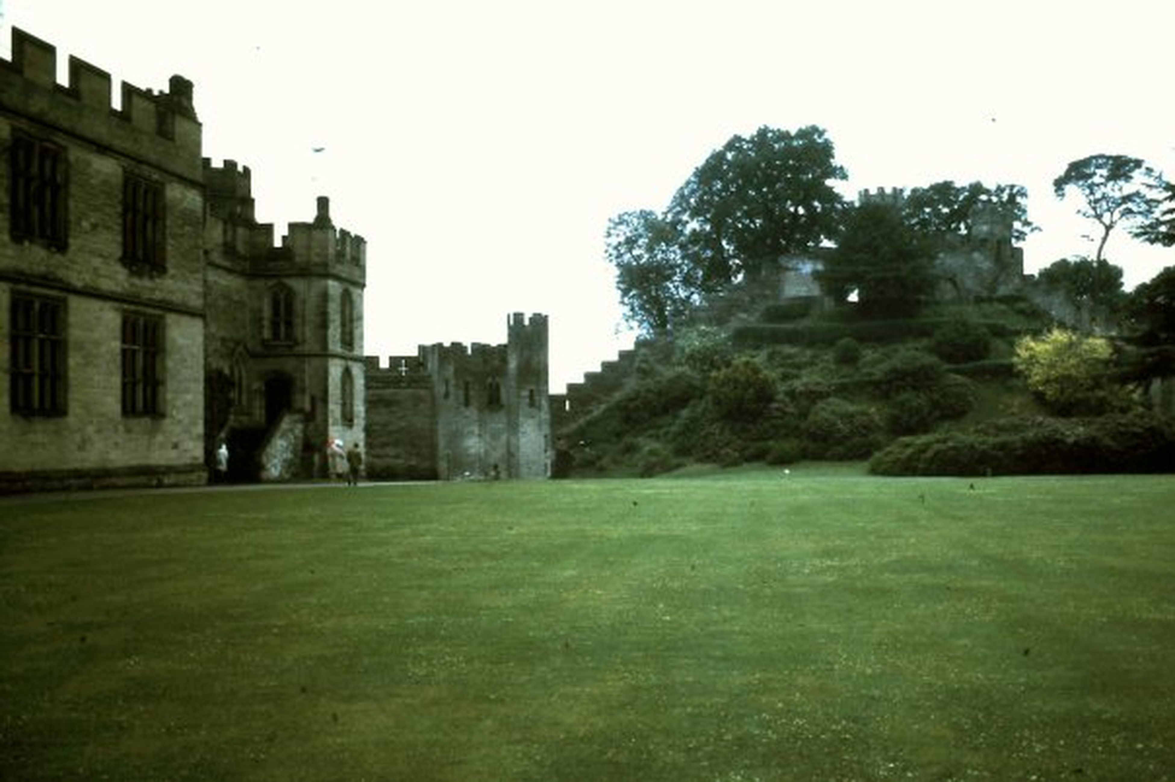 Architecture Building Exterior Built Structure Castle England Grass Outdoors Tree Warwick Castle Courtyard Warwick Castle Courtyard 1973.