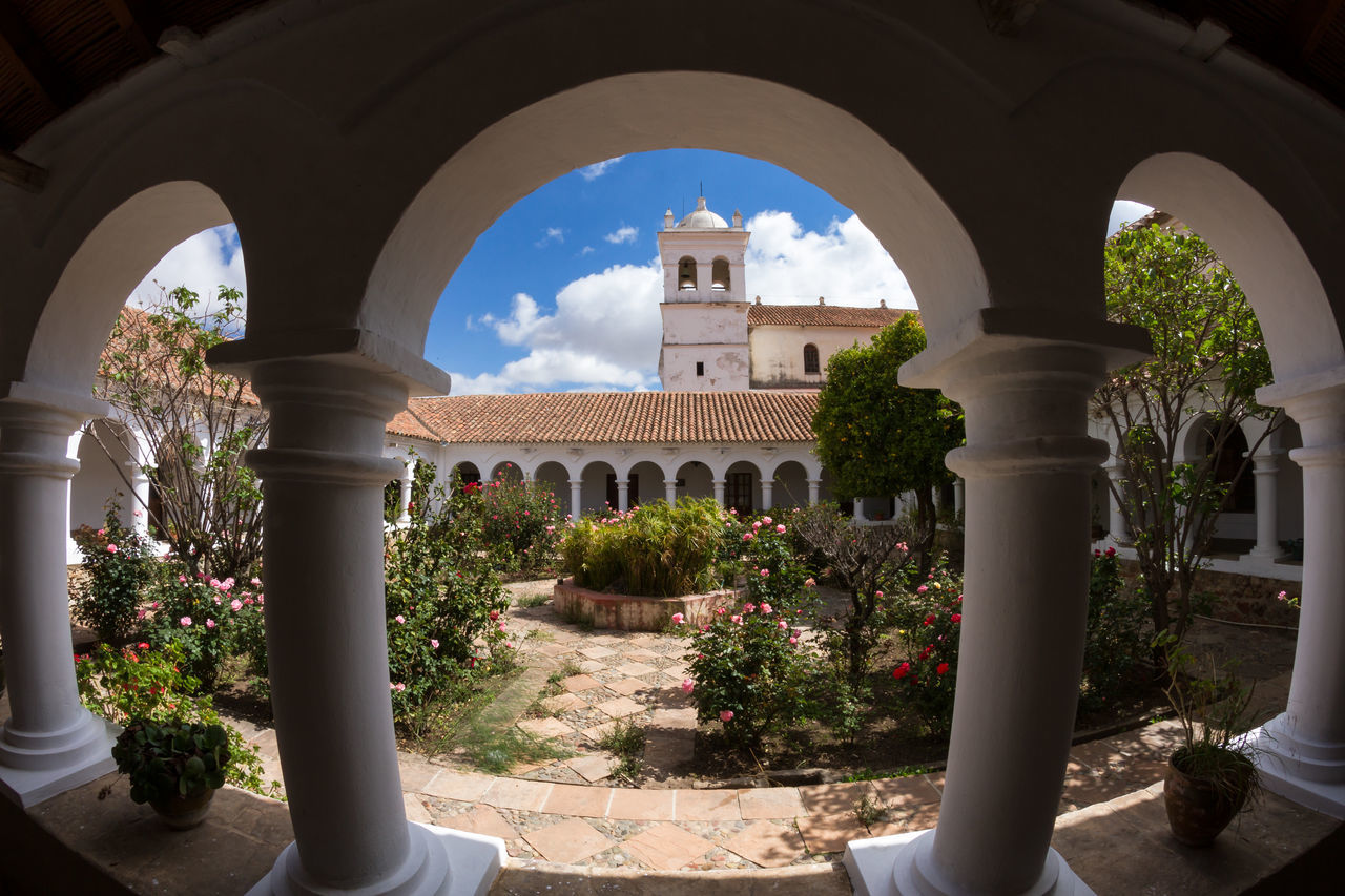 Cloister of La Recoleta - Wide angle Version, Sucre, Bolivia Arch Architecture Architecture Architecture_collection Bolivia Building Exterior Built Structure Cloister Cloisters  Day History La Recoleta No People Outdoors Plant Sky Sucre Sunlight Travel Destinations Tree Triumphal Arch