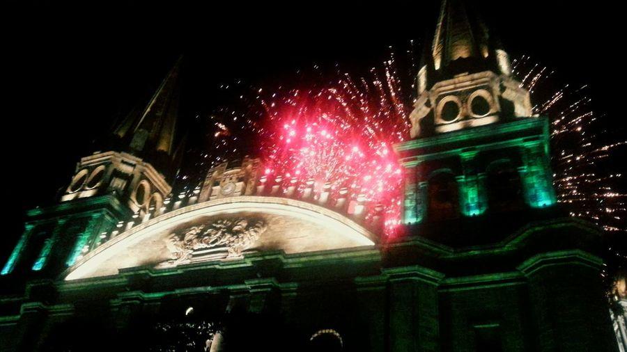 Night City Illuminated Guadalajara Jalisco Mexico