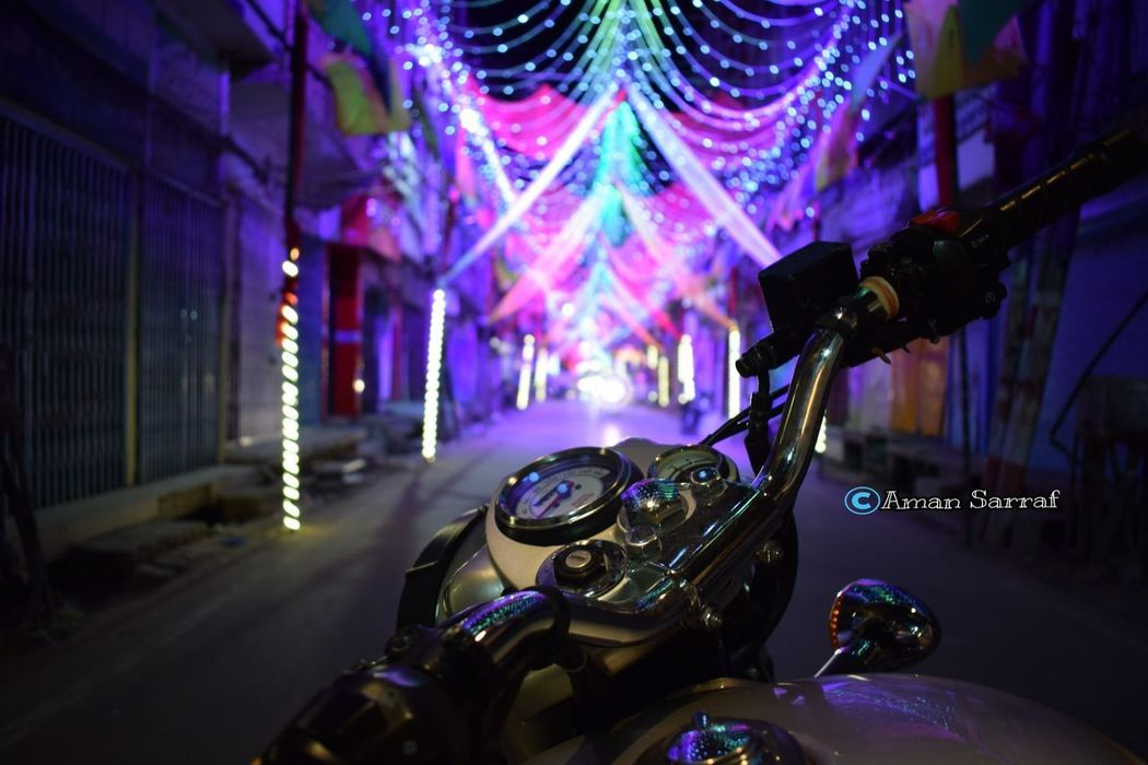 Nightlife No People Multi Colored Royalenfield Outdoor Lighting Dusshera Arts Culture And Entertainment Music Musical Instrument Night Popular Music Concert Guitar Indoors  Rock Music Electric Guitar Performance Illuminated Musical Instrument String Close-up Performance Group Jazz Music
