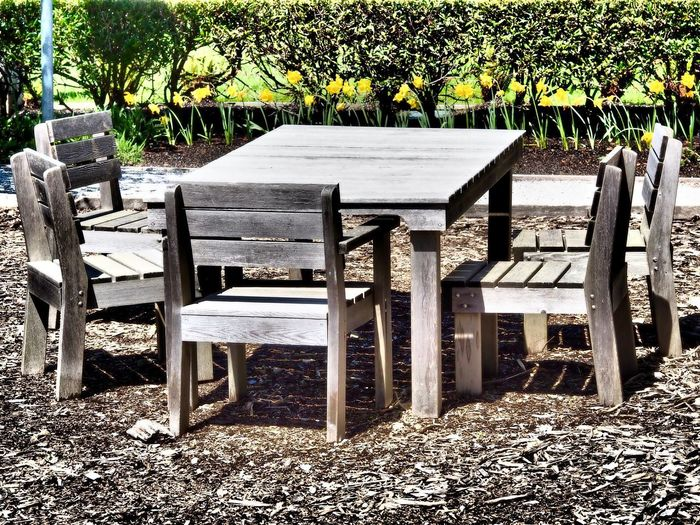 Absence Chair Day Empty Nature No People Outdoors Shadow Sunlight Table Tree Wood