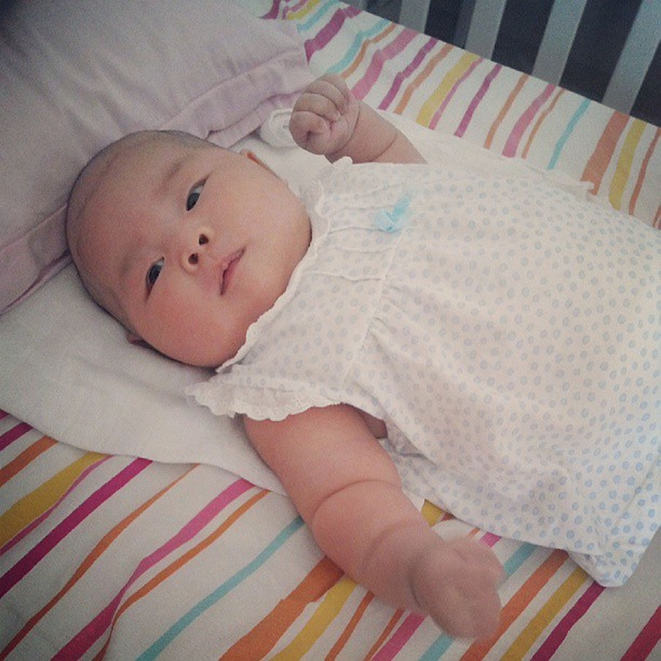 childhood, indoors, innocence, babyhood, baby, cute, toddler, elementary age, bed, person, relaxation, boys, unknown gender, girls, baby clothing, home interior, high angle view, lying down