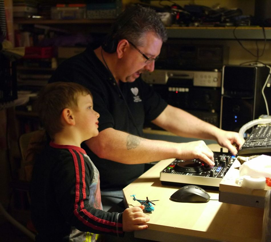 Teaching my son how to mix... That's Me Enjoying Life Panasonic Lumix Mirrorless Father & Son Father And Son Daddy Time Daddy's Boy Learning By Doing Learning Music Denon Denon DJ Serato