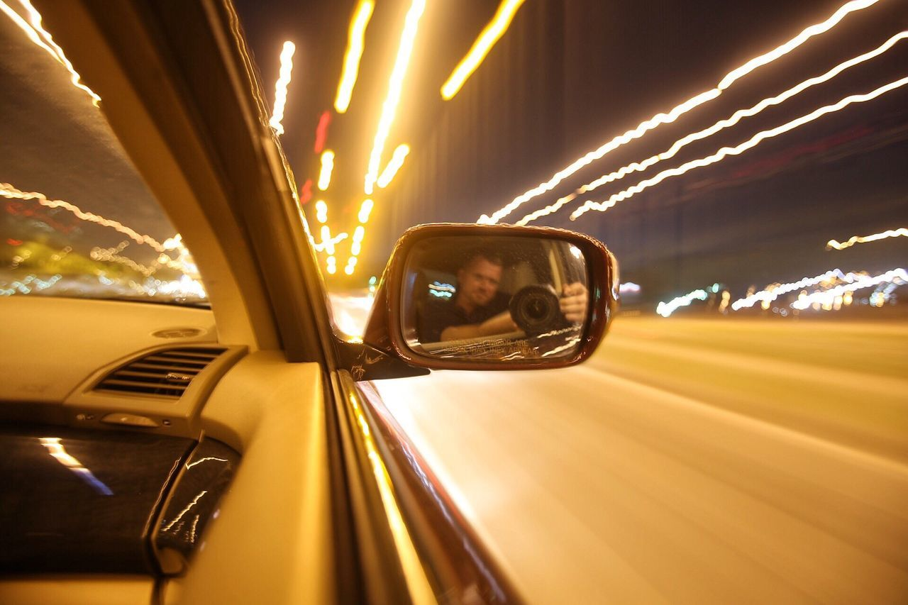 Night drive Car Transportation Mode Of Transport Land Vehicle Reflection Driving Speed Motion Road Blurred Motion Side-view Mirror One Person Outdoors Vehicle Mirror Night Sky Light Trail Puerto Rico Long Exposure Self Portrait Selfie ✌ Super Selfie